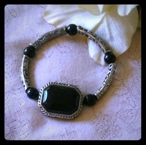 Vintage Faux Onyx & Ornate Segments Bracelet